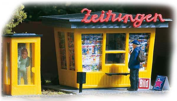 Auhagen Newspaper stand with telephone booth 12340