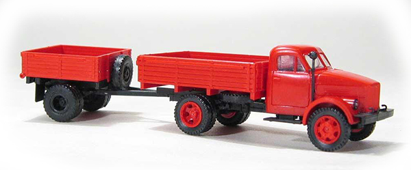 Miniaturmodelle GAZ-51 open side with trailer 1AP red, 033255