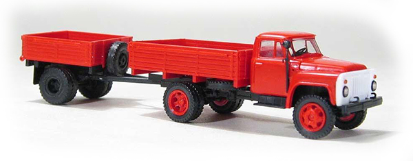 Miniaturmodelle GAZ-52 open side with trailer 1AP red, 033355