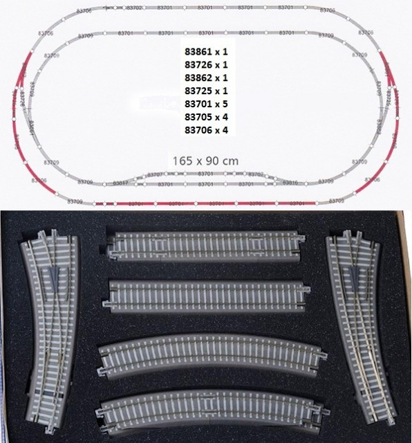 Tillig Track set with ballast , 01835