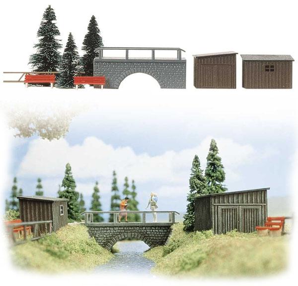 Busch 6041: Realistic scene ' Bridge Over Stream'